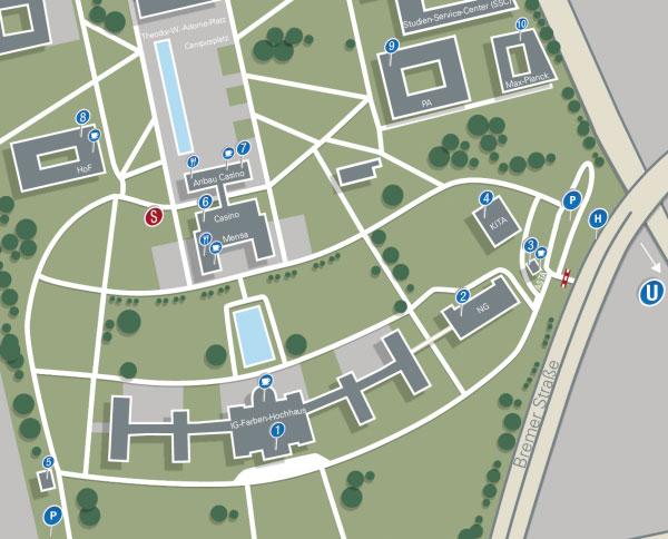 Lageplan der Universitaet Frankfurt Campus Westend
