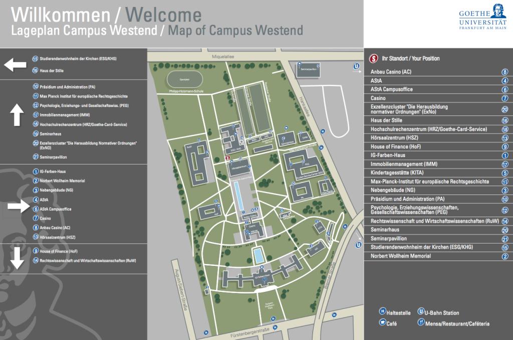 Lageplan Universität Campus Westend Frankfurt
